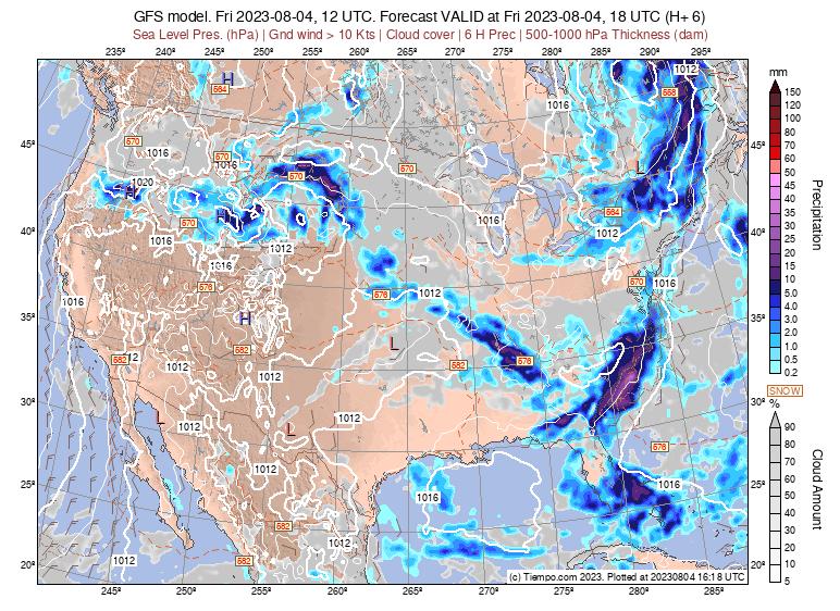 Mapa De Lluvia Gfs.Prevision Del Tiempo Gfs Nubes Y Precipitaciones En Usa