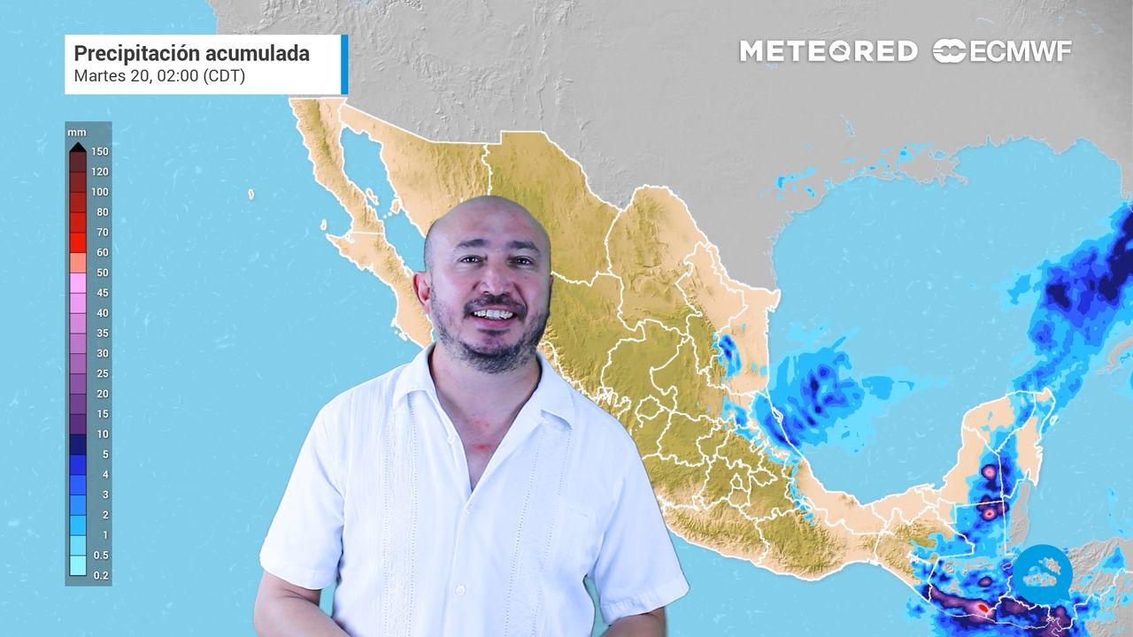 Tormentas con vientos fuertes y granizadas en el sureste de México.